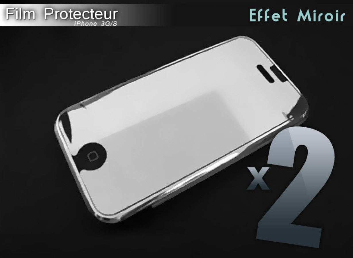 Iphone 3g s pack 1 screen protector mirror effect and 1 for Film protecteur effet miroir