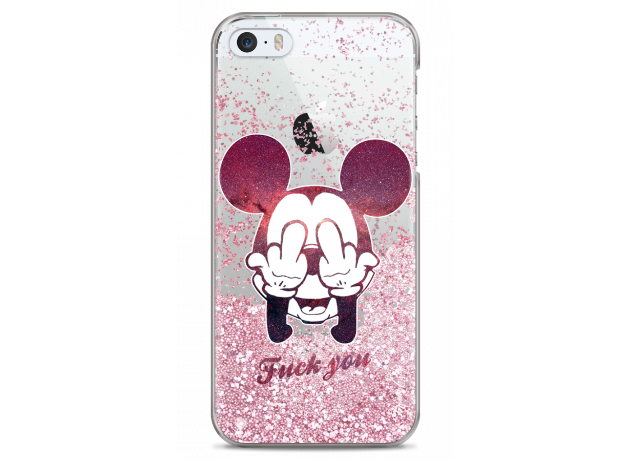 iphone 5 pink glitter mickey mouse message