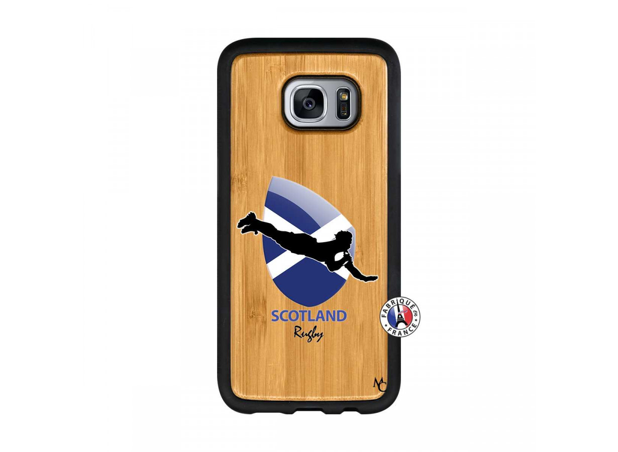Coque Samsung Galaxy S7 Edge Coupe du Monde Rugby-Scotland Bois ...