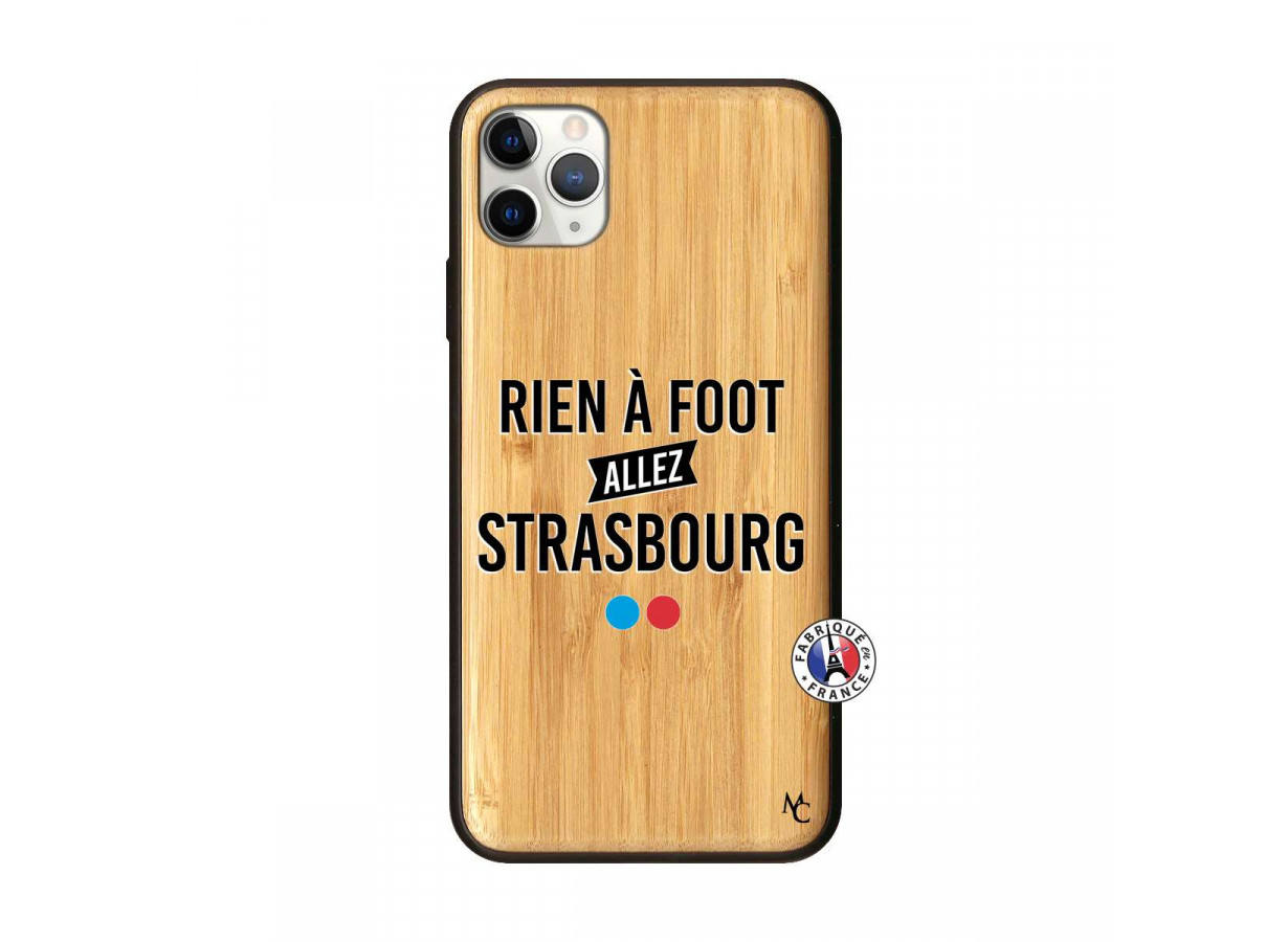 Coque iPhone 11 PRO MAX Rien A Foot Allez Strasbourg Bois Bamboo ...