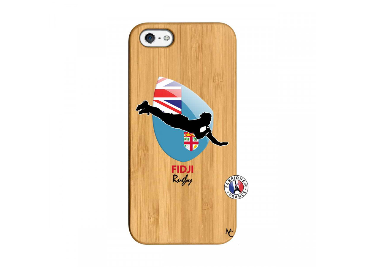 Coque iPhone 5/5S/SE Coupe du Monde Rugby Fidji Bois Bamboo ...