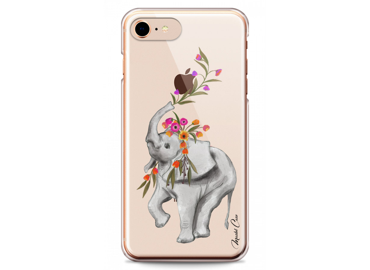 zz coque iphone 7 8 design master case boho elephant with flowers 1