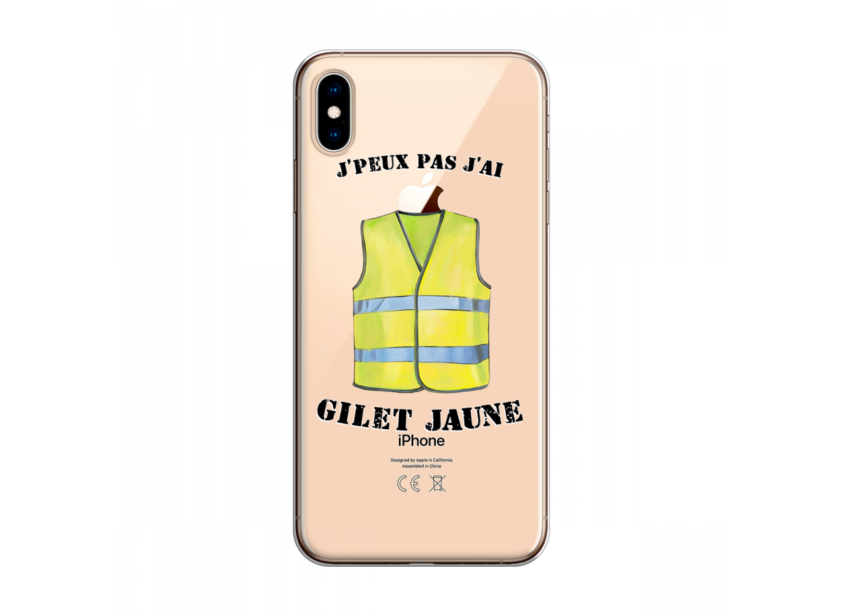 coque transparent jaune iphone xs max