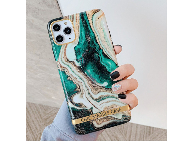 Coque iPhone 12 Pro Max Silicone Marble Green
