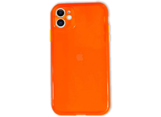 Coque iPhone 12 Mini Clear Hybrid Fluo Orange