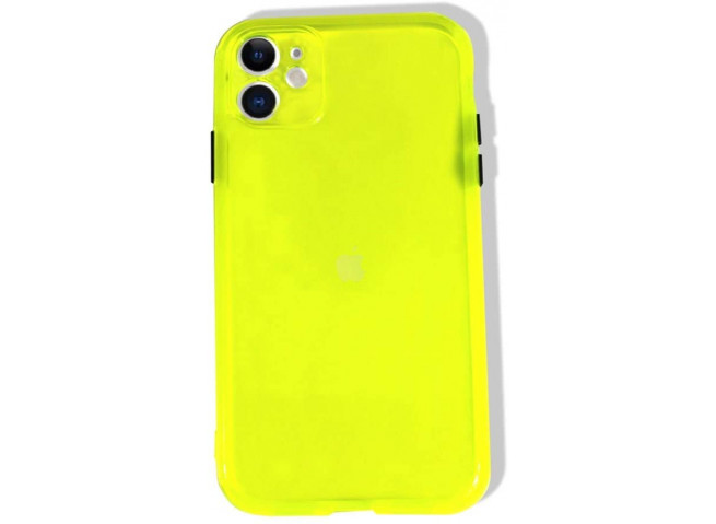 Coque iPhone 11 Clear Hybrid Fluo Jaune