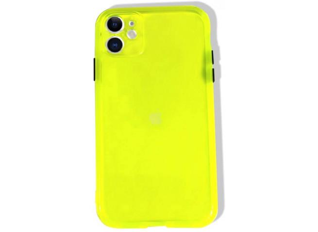 Coque iPhone 12 Pro Max Clear Hybrid Fluo Jaune