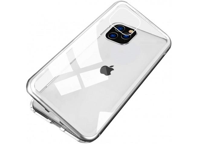 Coque iPhone 11 Pro Max Magnétique avec Verre Trempé Arrière-Argent
