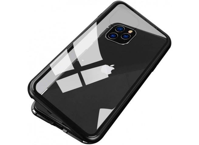 Coque iPhone 11 Pro Max Magnétique avec Verre Trempé Arrière-Noir