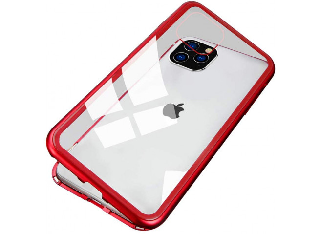 Coque iPhone 11 Pro Magnétique avec Verre Trempé Arrière-Rouge