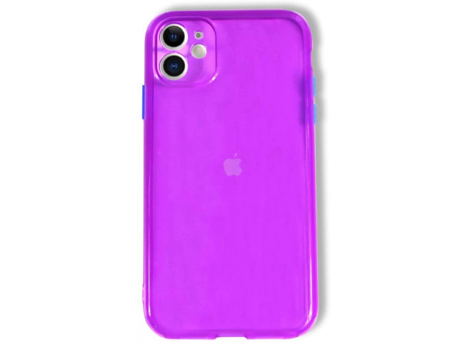 Coque iPhone 11 Clear Hybrid Fluo Violet