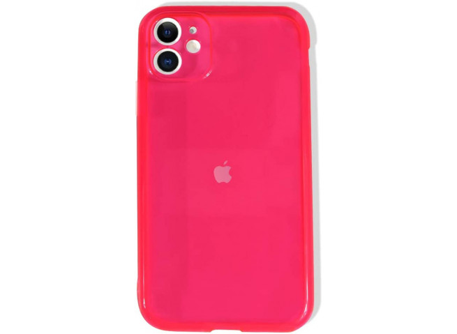 Coque iPhone 11 Clear Hybrid Fluo Rose