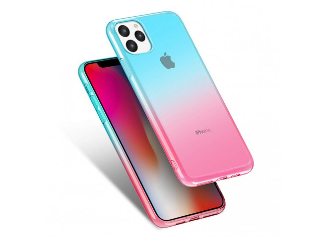 Coque iPhone 11 Clear Shock Gradient Pink Blue