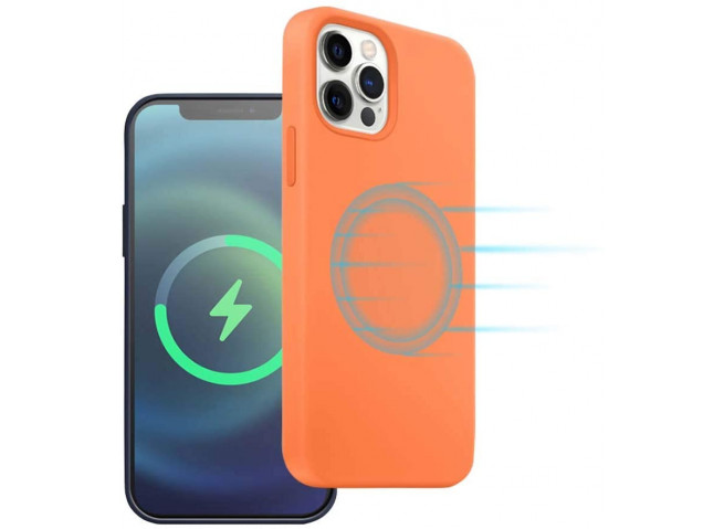 Coque iPhone 12 TPU Compatible MagSafe-Orange