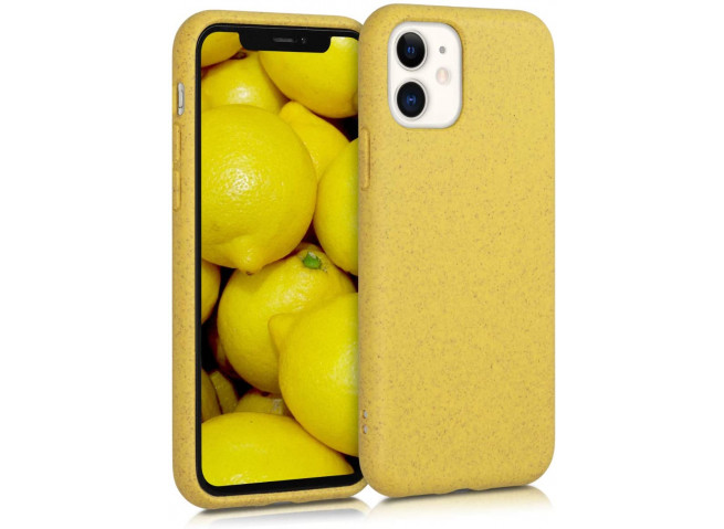 Coque iPhone 11 Pro Max Silicone Biodégradable-Jaune