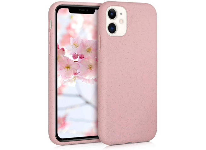 Coque iPhone X/XS Silicone Biodégradable-Rose