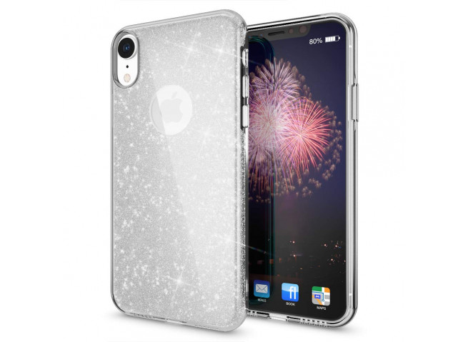 Coque iPhone XR Glitter Protect-Argent