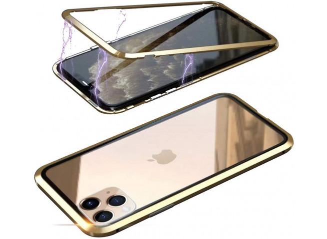 Coque iPhone 11 Pro Max Magnétique avec Verre Trempé Arrière-Or