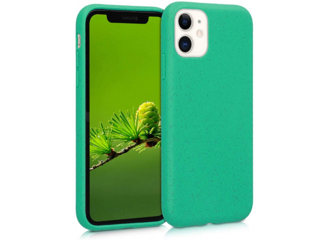Coque iPhone 11 Silicone Biodégradable-Vert
