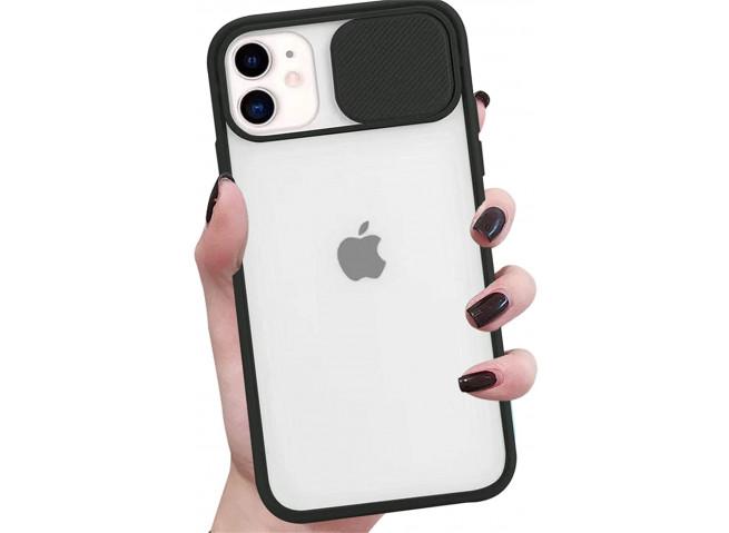 Coque iPhone 12/12 Pro Cache Objectif-Noir