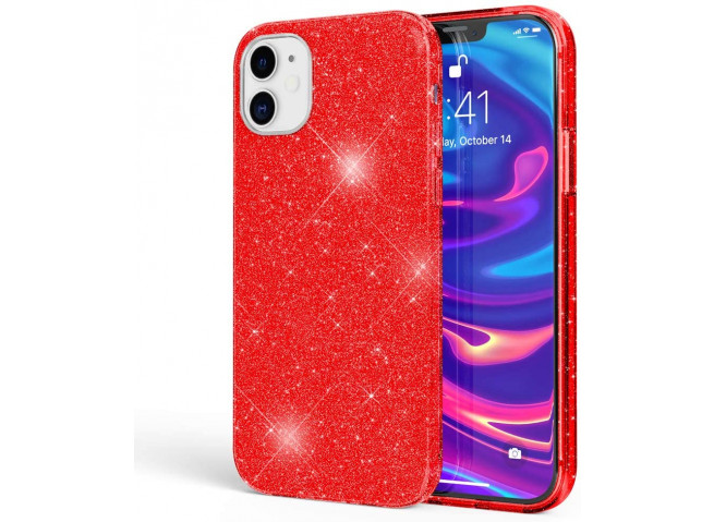 Coque iPhone 12/12 Pro Glitter Protect-Rouge