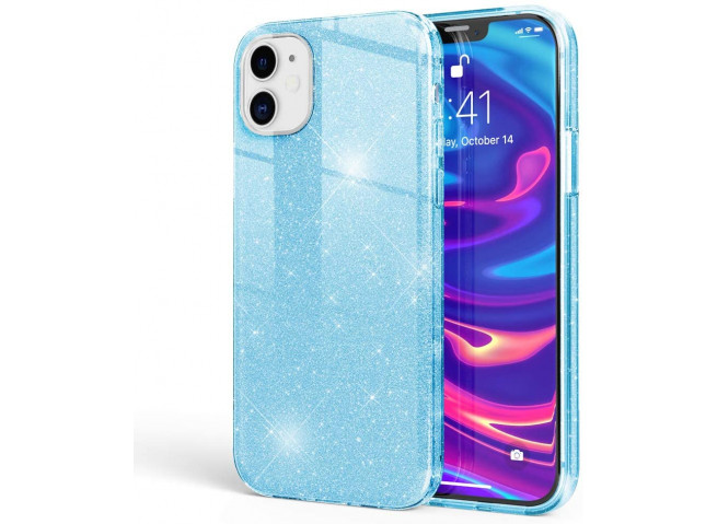 Coque iPhone 12 Pro Max Glitter Protect-Bleu