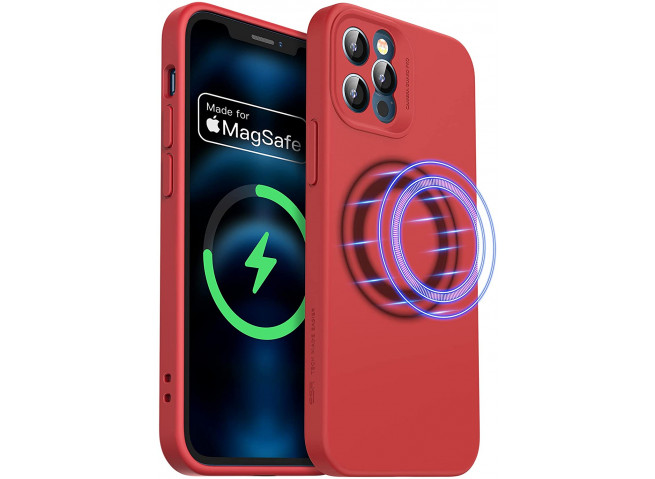 Coque iPhone 12 TPU Compatible MagSafe-Rouge
