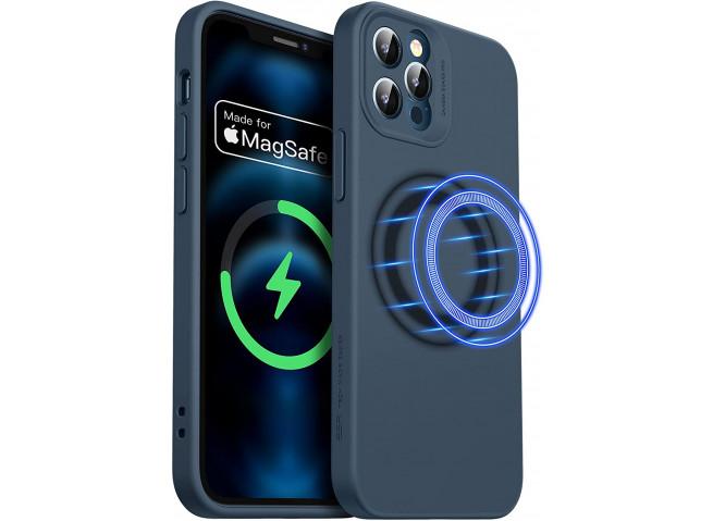 Coque iPhone 12 TPU Compatible MagSafe-Bleu Marine