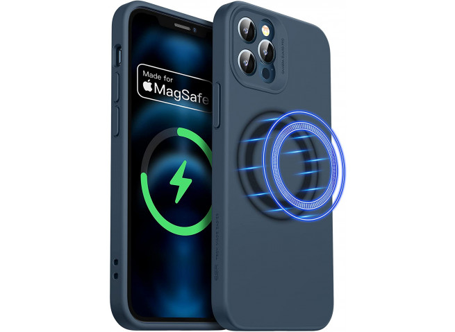 Coque iPhone 12 Pro TPU Compatible MagSafe-Bleu Marine