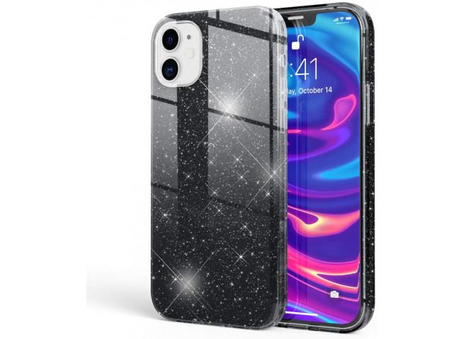 Coque iPhone 12/12 Pro Glitter Protect-Noir
