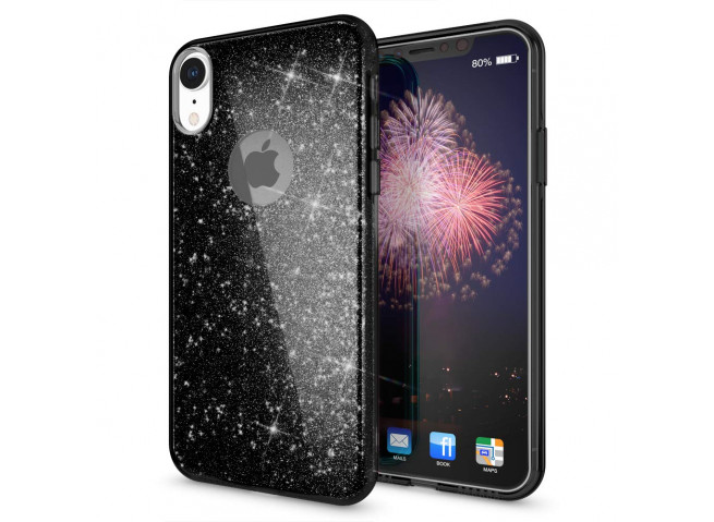Coque iPhone XR Glitter Protect-Noir