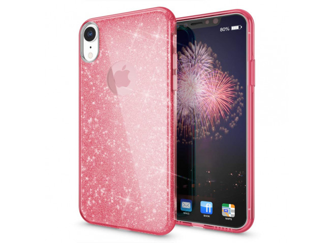 Coque iPhone XR Glitter Protect-Rose