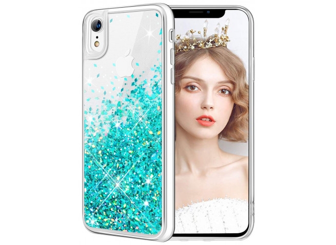 Coque iPhone X/XS Liquid Pearls-Bleu