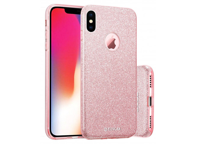 Coque iPhone X/XS Glitter Protect-Rose
