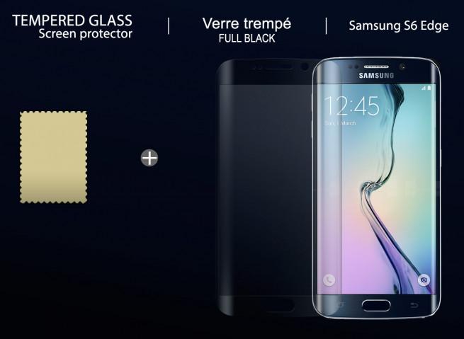 Film Protecteur Samsung Galaxy S6 Edge Plus en verre trempé-Noir
