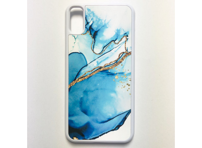Coque iPhone X/XS Texture Aquarelle Bleu et Or