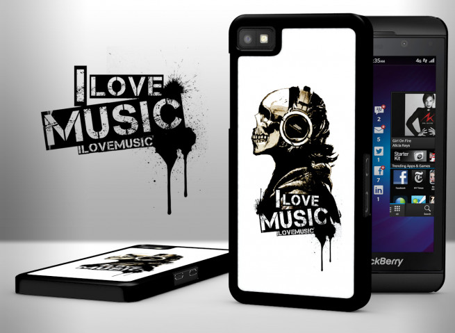 Coque Blackberry Z10 I Love Music-Blanc