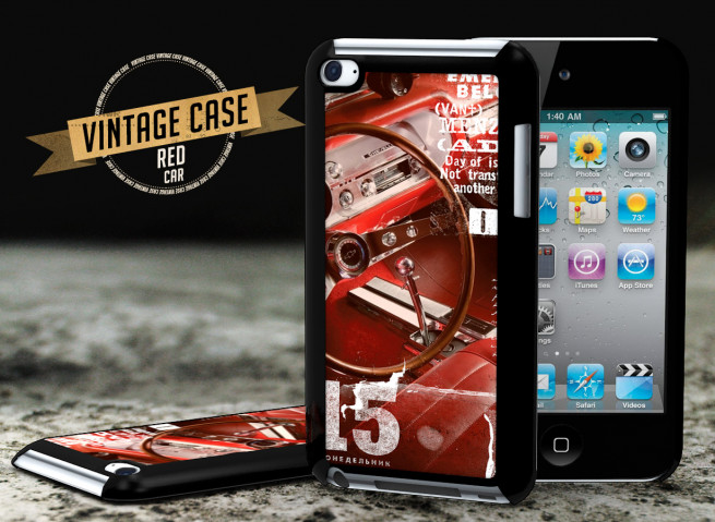 Coque iPod Touch 4 Vintage Case - Red Car