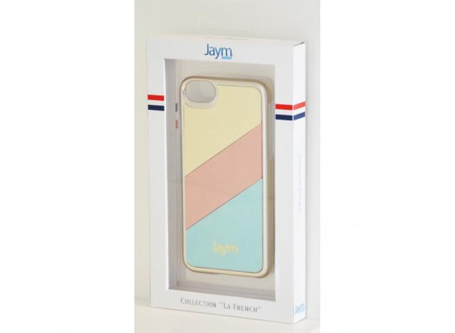 Coque iPhone X/XS Gold-Ecru-Bleu Metal Made in France