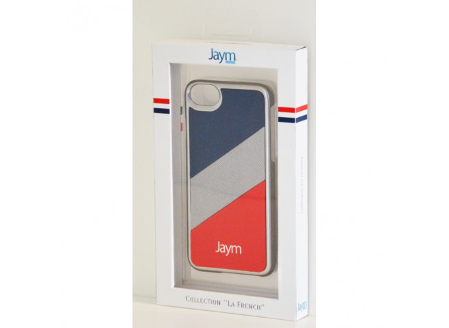 Coque iPhone X/XS Silver Bleu Rouge Metal Made in France