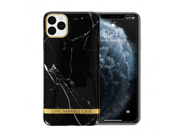 Coque iPhone 12/12 Pro Silicone Marble Black