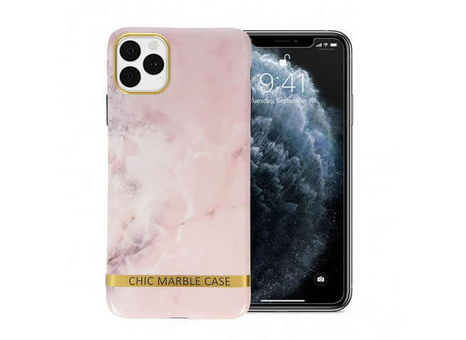 Coque iPhone 7/8/SE 2020 Silicone Marble Light Pink