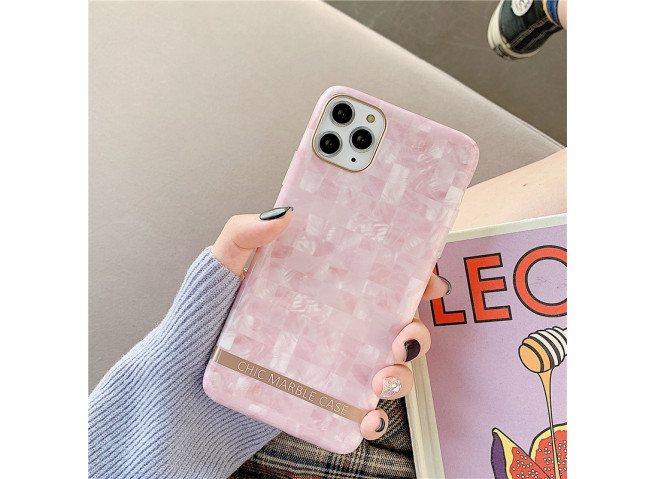 Coque iPhone 7/8/SE 2020 Silicone Marble Pink