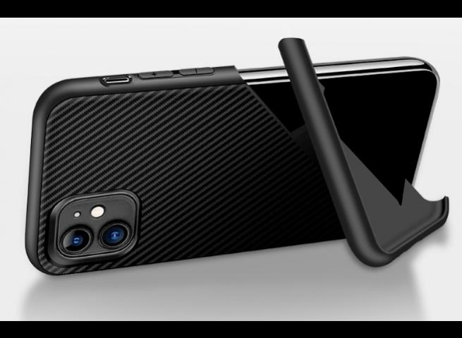 Coque iPhone 7 Plus/8 Plus Stand Silicone Carbone-Noir