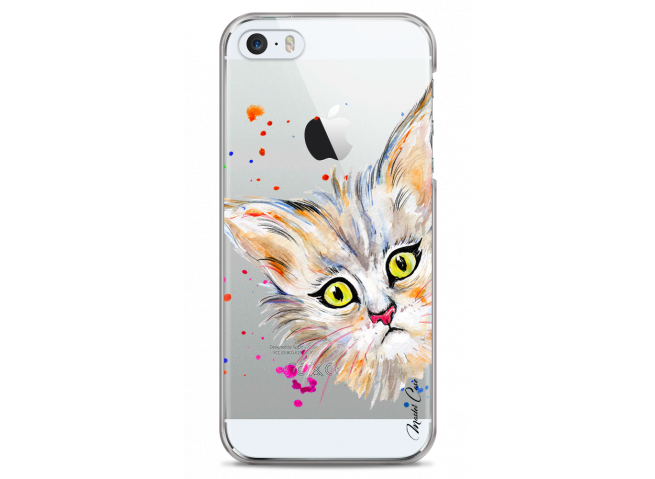 Coque iPhone 5C Summer watercolor cat