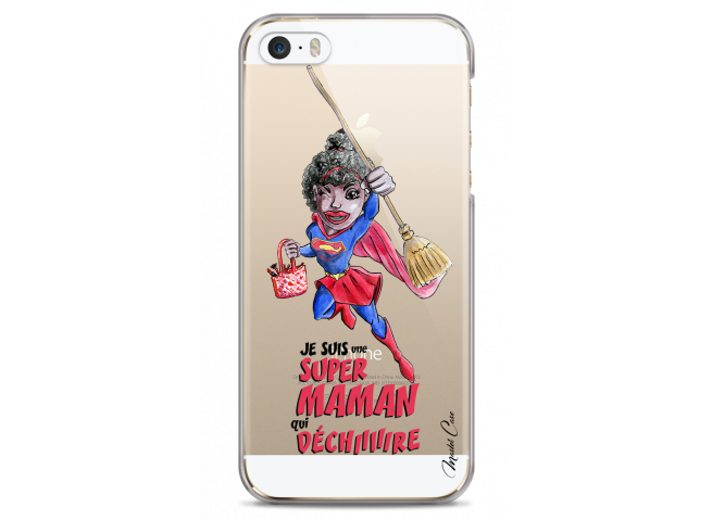 Coque iPhone 5C Super Maman qui déchire- black watercolor design