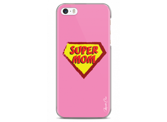 Coque iPhone 5/5s/SE Super Mom - pink design