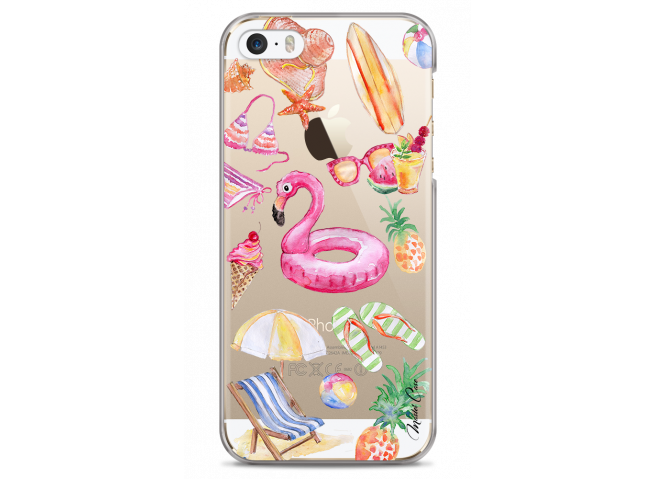 Coque iPhone 5/5s/SE Summer watercolor pattern beach