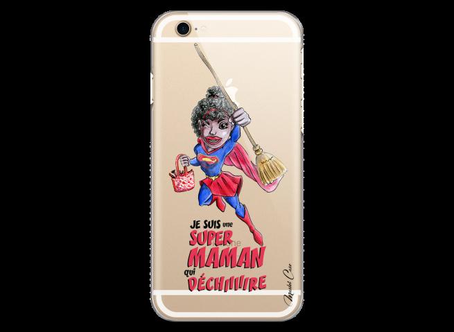Coque iPhone 6/6S Super Maman qui déchire- black watercolor design