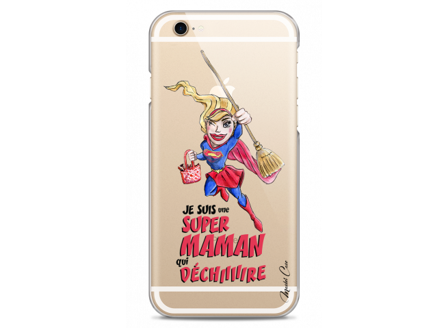 Coque iPhone 6Plus/6SPlus Super Maman qui déchire- watercolor design